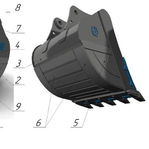 Ковш усиленный с межзубьевой защитой и протектором HD-2.1, 4 для JCB